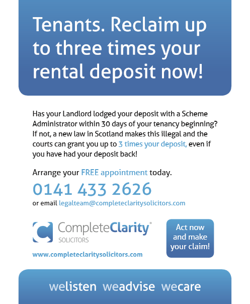 tenants reclaiming three times rental deposit scotland